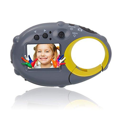Tyhbelle Mini Kids Camera,Wiederaufladbar Digital Kamera für Kinder Tragbar Kinderkamera mit USB Kabel (Grau-gelb) Tan-rau