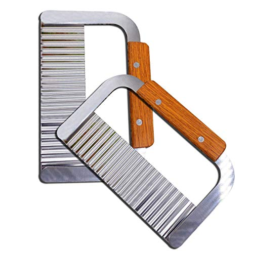 MOACC Pommesschneider Wellenschnittmesser Edelstahl Klinge mit Holzgriff, Für Pommes bestens geeignet, 2 Stück
