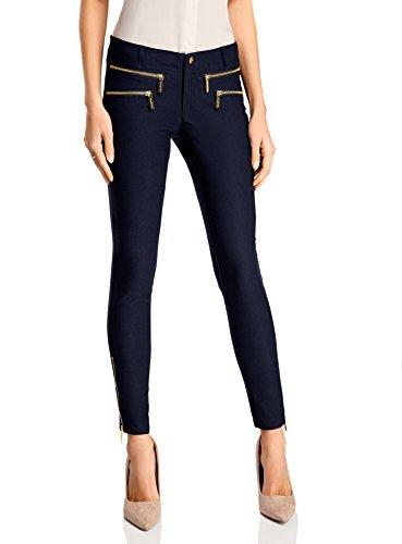 oodji Ultra Donna Pantaloni Aderenti con Zip Decorative Blu (7900N)