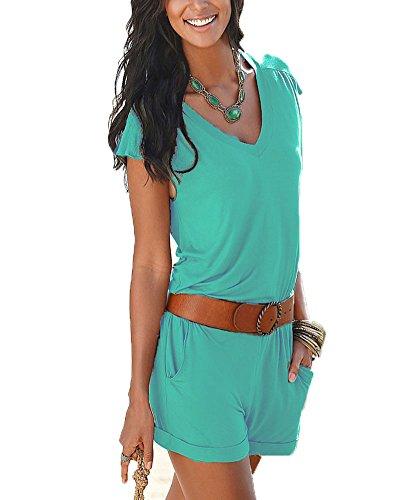 Donna scollo a v corta pagliaccetto elegante estivo pantaloncini jumpsuit spiaggia partito mini shorts tuta lago verde m