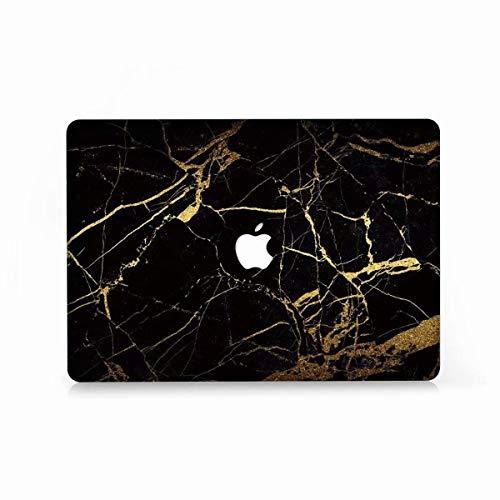 AQYLQ MacBook Schutzhülle/Hard Case Cover Laptop Hülle [Für MacBook Air 13 Zoll: A1369/A1466], Ultradünne Matt Plastik Hartschale Schutzhülle, DL35 Schwarz & Gold Marmor - Bottom Case Gehäuse