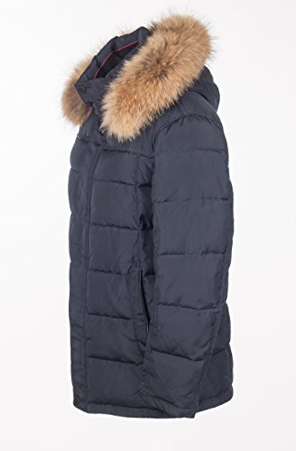 "VH309 Herrenjacke mit Echtfell ""SNOWIMAGE"" abnehmbare Kapuze (82 cm lang) Winter Parka Outdoor realfur mans padded coat Schwarz"