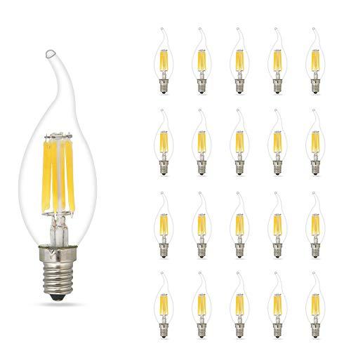 mengjay® 20 Stück LED-Leuchtmittel E14 6 W Kerze Leuchtmittel 500 lm 2700-3200 K Warm Weiß entspricht 60 W Glühbirne LED Kerze Leuchtmittel Glühbirne Kerze -