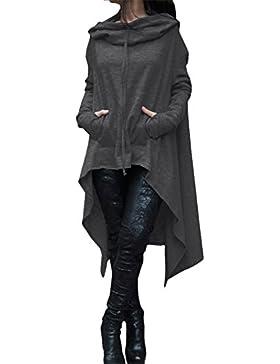 Donna Felpa Pullover Lunga Irregolare Camicetta Oversize Sweatshirt Maniche Lunghe Vestito Nero Oliva Grigio Blu...