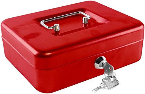 1PLUS Geldkassette Cash Box mit Hartgeldeinsatz 20 x 16 x 7 cm in verschiedenen Farben (Rot)