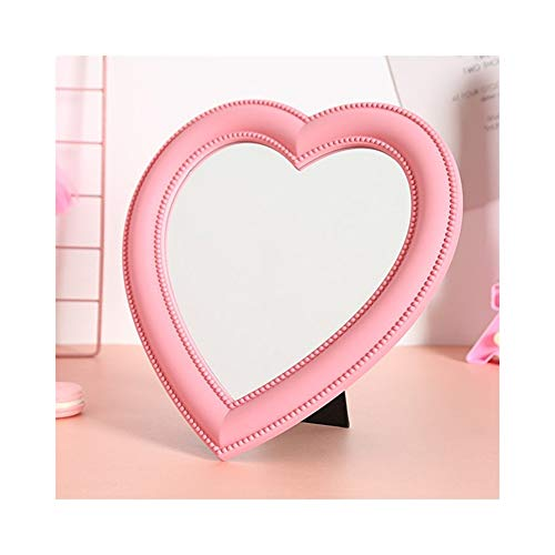 Preisvergleich Produktbild Hohe Qualität 1 STÜCK Herzform Frauen Damen Bilden Spiegel Kosmetiktisch Tragbare Kompakte Kosmetikspiegel Rosa Spiegel (Color : Pink)