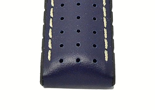 Hirsch TIGER Perforated Leather Performance Rubber Watch Strap and Buckle in BLUE – 20mm
