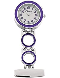 Fob Watch for Nurse Doctor Paramedic Unisex White Dial The Olivia Collection - Pin-On Pocket Nurses Fob Watch Purple