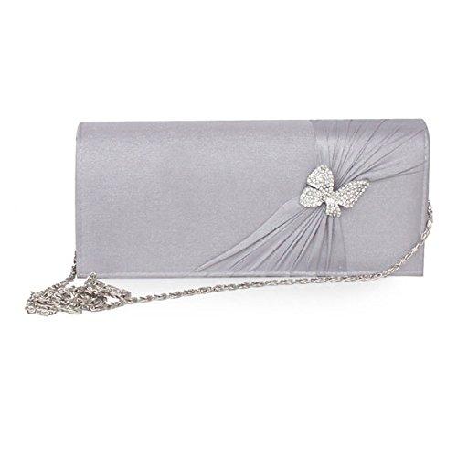 Frauen-Abend-bereifte Handtaschen-Partei Brautkupplungs-Geldbeutel Seide Grey