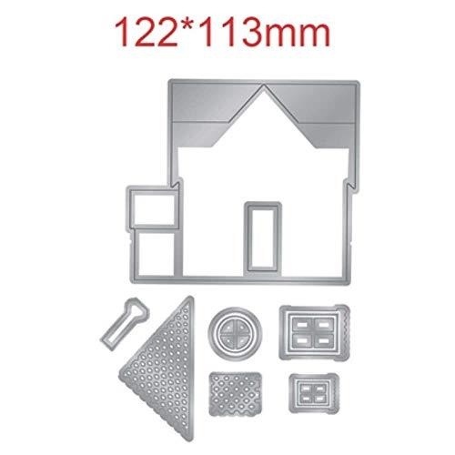 Haus Cottage Wolke Baum-Blumen-Zaun Metall-Schneideisen-Schablonen für DIY Scrapbooking Dekoration Präge Craft 2019 Gestempelschnitten, H2177