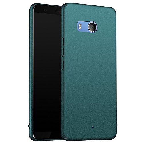 ORNARTO HTC U11 Hülle,Ultra Dünn Schlank Stoßfest, Anti-Scratch FeinMatt Einfach Handyhülle Abdeckung Stoßstange Hardcase für HTC U11 5.5'(2017) Matt Kies Grün