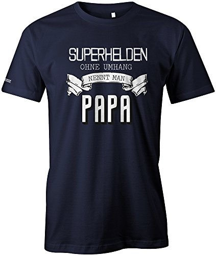 Jayess Superhelden ohne Umhang nennt Man Papa - Herren T-Shirt in Navy by Gr. M