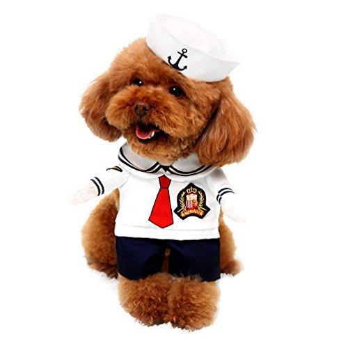 ostüm mit Hut Marineblau Cosplay Pet Kostüm Alle Jahreszeiten weiß, für kleine Hund Katze Puppy (Funny Halloween-kostüme-superhelden)
