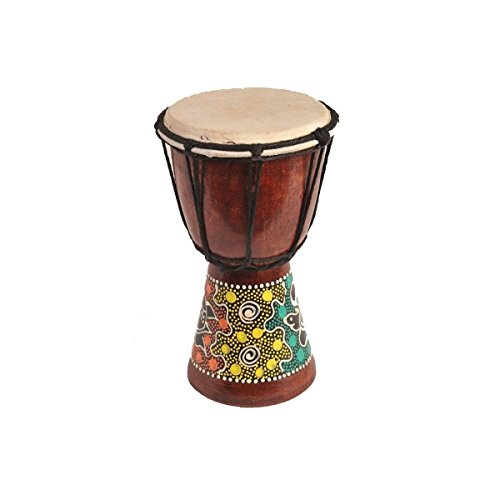 Djembe Trommel Bongo Afrika Holz bemalt Drum Instrument Musik Rhythmus Percussion Dot Painting (15 cm)