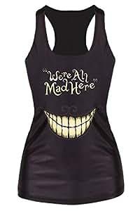 Gabriela Boutique Débardeur pour femme Motif: chat du Cheshire et inscription «We're All Mad Here» Taille unique: 36 à40