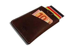 Kreditkartenetui & Geldklammer vereint - RFID Schutz - 100% Echtleder - perfekt als Visitenkartenetui, Reisegeldbeutel oder kompakte Alternative für Geldbörse, Portemonnaie, Brieftasche (Braun)