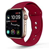 Sport Band Compatible With Apple Watch 38MM 40MM, Soft Silicone Replacement Strap Compatible For Apple Watch Series 4/3/2/1 (S/M Size in Rose Red Color)