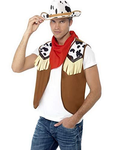 Luxuspiraten - Kostüm Accessoires Zubehör Western Cowboy Set mit Weste, Halstuch und Cowboy Hut im Kuh-Look, perfekt für Karneval, Fasching und Fastnacht, Braun