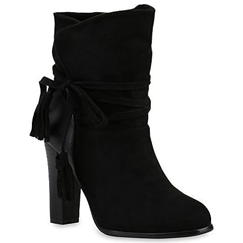 Klassische Damen Stiefeletten High Heels Stilettos Schleifen Schuhe 123622 Schwarz Quasten 37 |