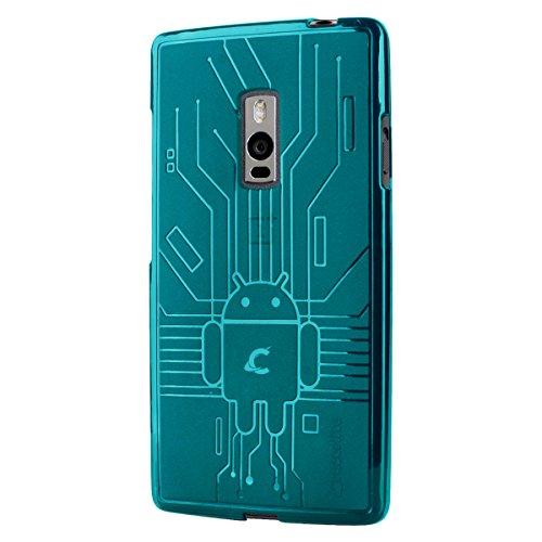 CruzerLite Bugdroid Schlussfall für OnePlus Two Teal - Silicon Protector Case