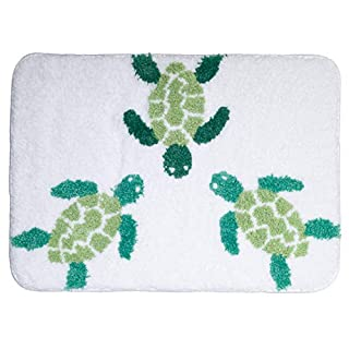 AQUALONA Microfibre Non-Slip Bath Mat | Absorbent, Quick Dry Bathroom Floor Mat | Slip-Resistant Rated | Polyester, 61 x 44 cm, Turtles Design, Green/White