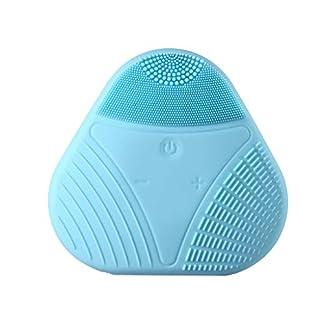 99AMZ Limpiador facial de silicona Cepillo de Limpieza Facial Eléctrico Resistente al agua Masajeador facial de Waterproof Sistema de limpieza de la piel Antienvejecimiento Deep Exfoliator (Azul)