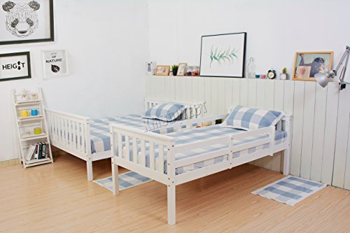 WestWood NEW Detachable Bunk Beds | Single Top Double base bed | Solid Wood Frame |Children's Bed room Furniture | Hostel Furniture | Adjustable Beds | Wooden Bed Frame Bed Sets - No Mattress Included