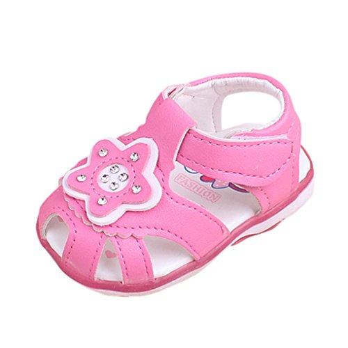 FNKDOR Baby Mädchen LED Licht Schuhe Sandalen Sterne Babyschuhe Leuchtschuhe(6 Monate/11.5 cm,Rosa) (Baby Leder Phat)
