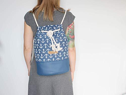 Blauer Seesack mit Ankermuster, Seesack aus canvas mitweißer Baumwollkordel - 4