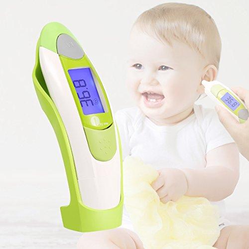 Ohrthermometer Stirnthermometer 1byone Infrarot Thermometer für Babys, Kinder und Erwachsene, mit beleuchtetem Digital-Display und Fieberwarnung, zeichnet bis zu 10 Messwerte auf.