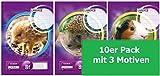 LANDRE 100050074 Schulheft 10er Pack A5 16 Blatt Lineatur 8f - rautiert mit Rand 3 Motive sortiert