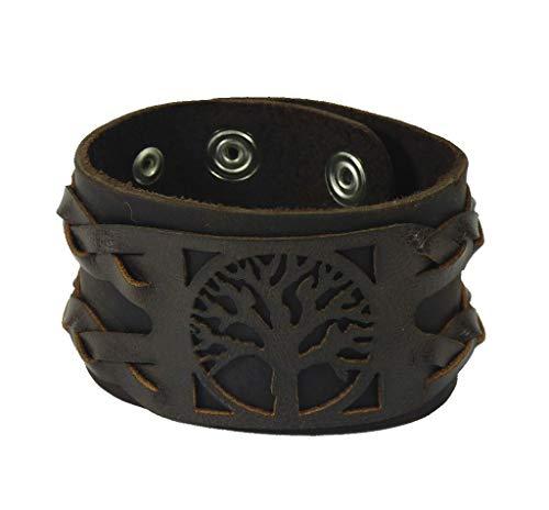 Westernlifestyle Echt Lederarmband mit Baum des Lebens und Flechtung schwarz oder braun 4 cm breit (braun) - 5/4 Western Leder