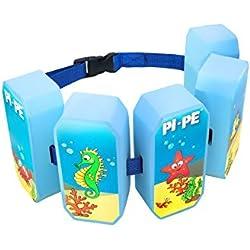 PI-PE–Cinturón flotador para niños–Flotador Ideal para aprender y toben–5Bloques según el Progreso Restos–Bonito diseño para niños y niñas, primavera/verano, infantil, color azul, tamaño talla única