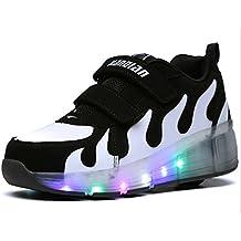 Skate NS niños niñas niños adultos LED luz para patines zapatillas deportivas al aire libre zapatillas con rueda de Singel intermitente Walking Sport zapatillas de running, hombre, Negro y blanco