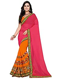 Riva Enterprise Women's Designer Half & Half Georgette Embroidred Work Pink And Orange Saree(riva_11)