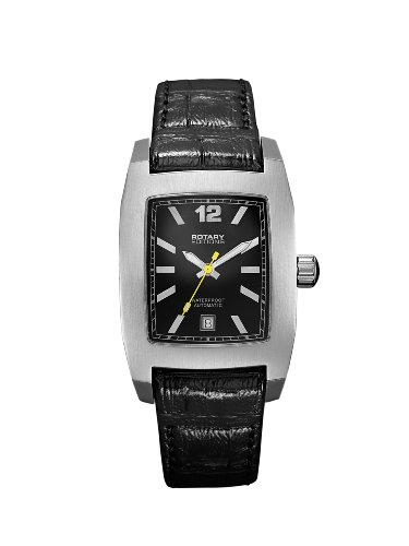 Rotary Editions 201B Unisex Rectangular Stainless Steel Leather Strap Watch