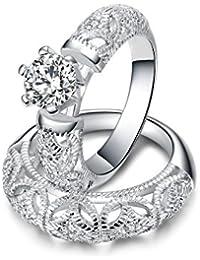 Atistic Vintage Craft para tallar fina de 0,5CT Ronda CZ Novia conjuntos de anillo, tamaño J 1/2para S