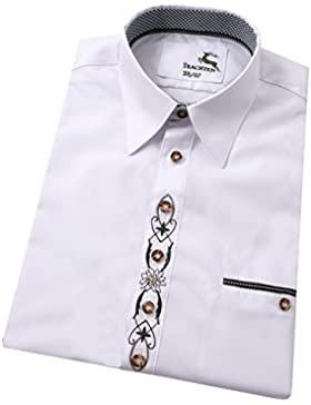 Moschen-Bayern Best-Quality Trachtenhemd Herren Langarm Kurzarm 100% Baumwolle mit Edelweiß-Legende - Weiß Grün