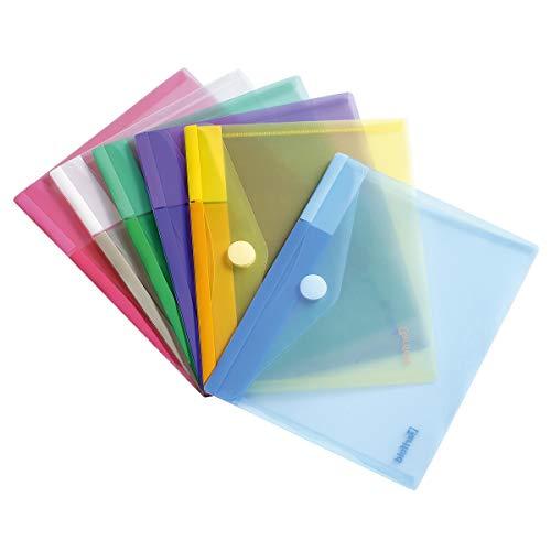 Tarifold Dokumententasche / Sammeltasche Din A5 Mit Siebdruckdesign und Klettverschluss - 6 Stk. sortiert (Blau, Lila, Grün, Gelb, Pink & Transparent) - 510259