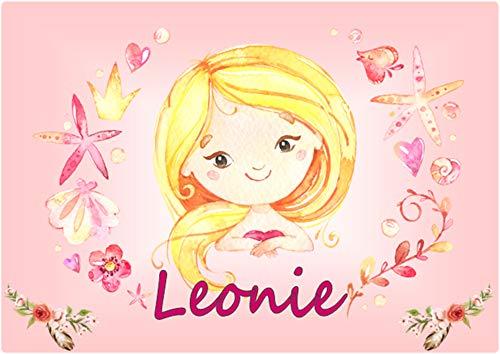 glänzende Unterlage Kunststoff - MÄDCHEN blond 1 - personalisiert mit Name - ca. 40 cm x 29 cm - Tischunterlage Mal & Knet & Ess & Schreibunterlage Platzset ... abwaschbar, abwischbar - Glänzendes Blond