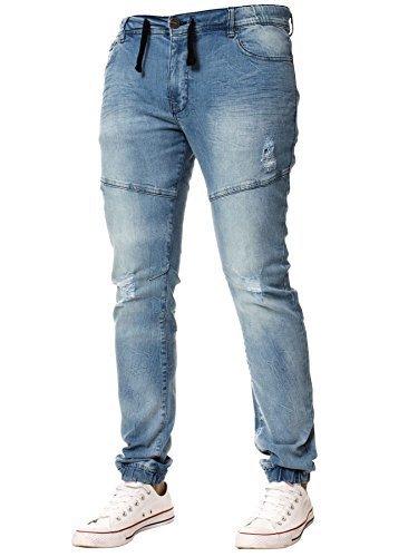 Enzo NEU Herren Jeans mit Bündchen DESIGNER STRETCH FIT zerschlissene Jeans Jogginghosen - Blau, 40W / - Zerschlissene Jeans