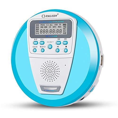 DZSF Tragbarer CD-Player, wiederaufladbar für Audio-CDs und MP3-Laufwerke. U-Disk & TF-Karte mit integriertem Lautsprecher und Anti-Shock/ESP,Blau