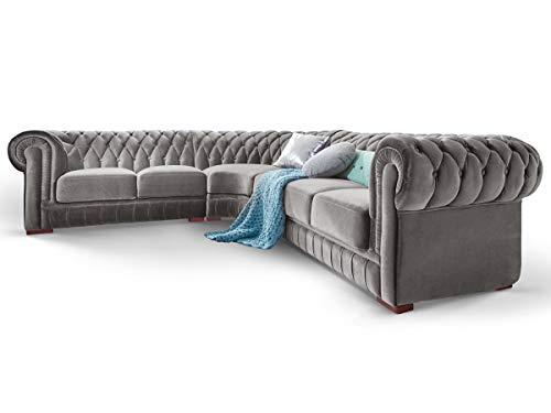 Moebella Chesterfield Ecksofa Samt Stoff Grau Silber Knopfheftung Massivholz Füße Designer Couch (Spiegelverkehrt)
