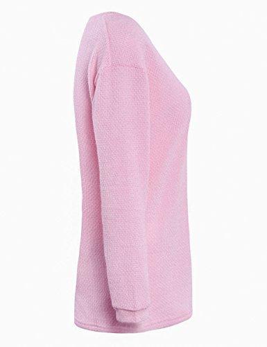 Yidarton Damen Langarm Strickpullover mit V-Ausschnitt Pulli Lose Strickjacke Knitwear Sweatshirt Jumper Tops Rosa