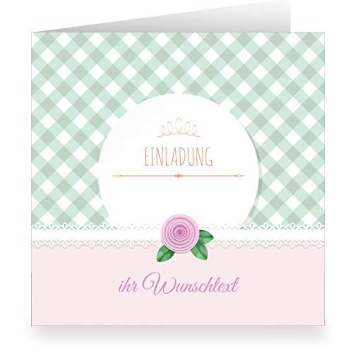 3er Set: Festliche rosa Einladungskarte mit Wunschtext und Innendruck/Vordruck zum Ausfüllen (quadratisch, 15,5x15,5cm inkl Umschlag) - Taufe, Erstkommunion, Einschulung, Firmung