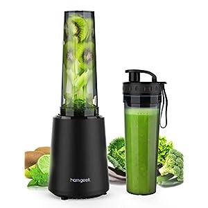 homgeek Mixer Smoothie Maker, Mini Blender mit Tragbarer BPA-freie 500ML Flasche, Tragbar Mini Standmixer für Shake, Smoothie, Eis, Getränk von Obst und Gemüse, 300 Watt, 25,000 U/Min, Schwarz