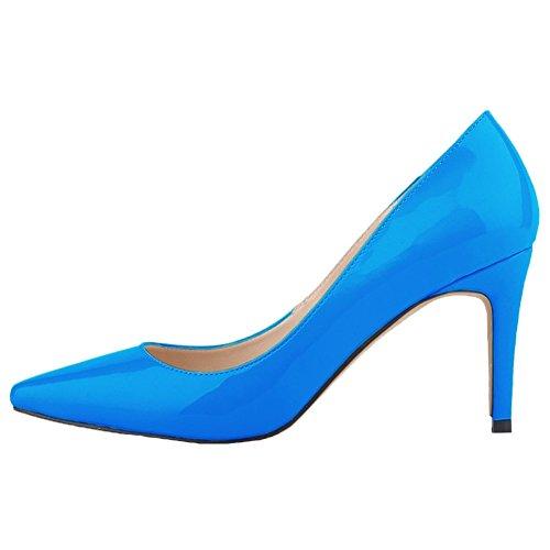 HooH Femmes Pointu Stiletto Chaussures De Mariage Escarpins Bleu