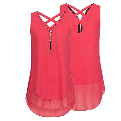 Gepäck & Taschen 2019 Sommer Frauen Lose Chiffon T Shirts Ärmellose Tank Top Mit V-ausschnitt Zipper Saum Scoop T Shirts Tops M #27 GroßEr Ausverkauf