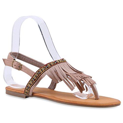 Damen Dianetten Fransen Sandalen Lederoptik Trendschuhe Khaki Muster