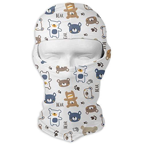 Vidmkeo Cartoon Bear Men Women Balaclava Neck Hood Full Face Mask Hat Sunscreen Windproof Breathable Quick Drying White Unisex17 (Bear Ohren White)